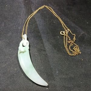 Other - Jade necklace Jewelry hand carved Jade stone gold